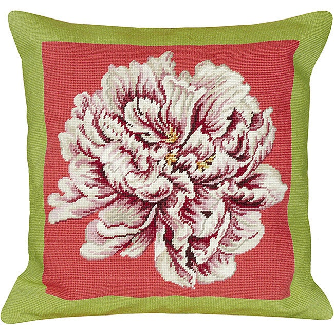 Peony Green and Pink Needlepoint Pillow