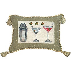 Martini Embellished Petit Point Pillow