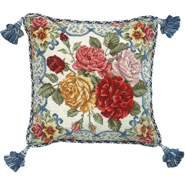 Mandarin Garden Rose Needlepoint Pillow