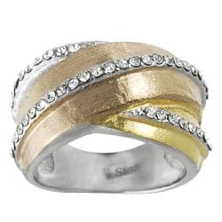 Journee Collection Tri-tone Stainless Steel Cubic Zirconia Ring