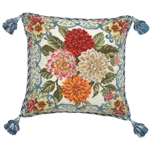 Mandarin Garden Dahlia Needlepoint Pillow