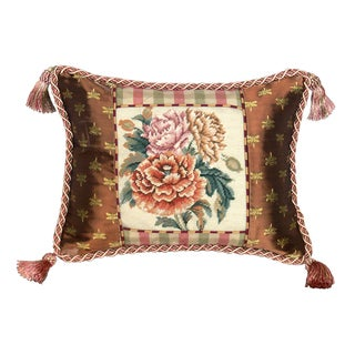 Peony Floral Petit Point Needlepoint Pillow