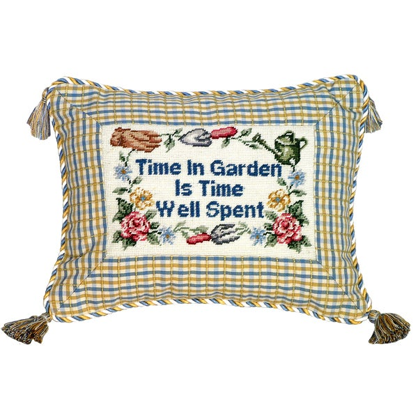 'Time in Garden' Petit Point Pillow