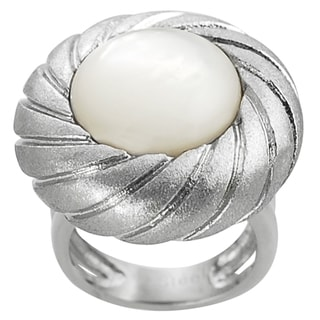 Journee Collection Stainless Steel Mother of Pearl Satin Finish Ring