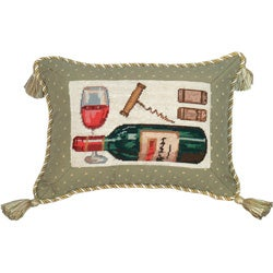 Wine petit-point pillow