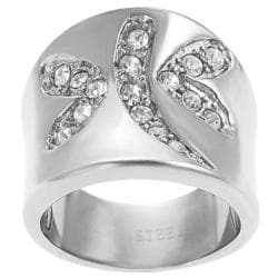 Journee Collection Stainless Steel Cubic Zirconia Dragonfly Ring