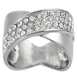 Journee Collection Steel Cubic Zirconia Modern Criss-cross Ring