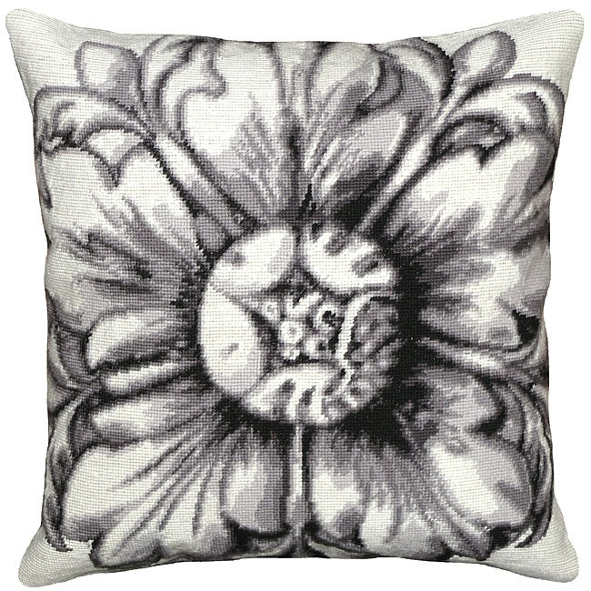 Black Rosette Needlepoint Pillow