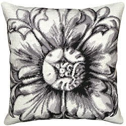 Black Rosette Needlepoint Pillow
