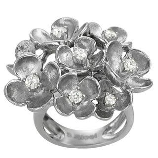 Journee Collection Stainless Steel Cubic Zirconia Multi-flower Ring