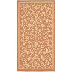 Poolside Floral-print Terracotta/ Natural Indoor/ Outdoor Accent Rug (2' x 3'7)