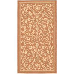 Safavieh Poolside Floral-print Terracotta/ Natural Indoor/ Outdoor Accent Rug (2' x 3'7)