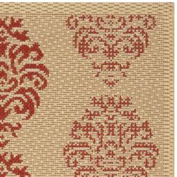Safavieh Poolside Natural/ Red Indoor/ Outdoor Accent Rug (2' x 3'7)