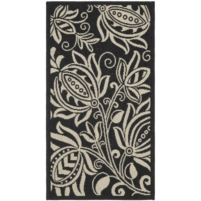 "Safavieh Poolside Black Indoor/Outdoor Polypropylene Rug (2' x 3'7"")"