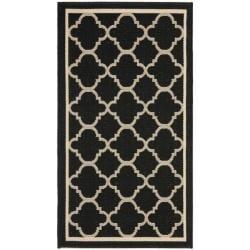 "Poolside Black/Beige Indoor/Outdoor Polypropylene Rug (2' x 3'7"")"