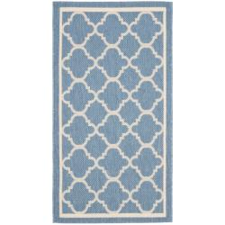 "Poolside Blue/Beige Indoor/Outdoor Polypropylene Rug (2' x 3'7"")"