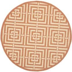 Safavieh Poolside Terracotta/ Cream Indoor/ Outdoor Rug (5'3 Round)