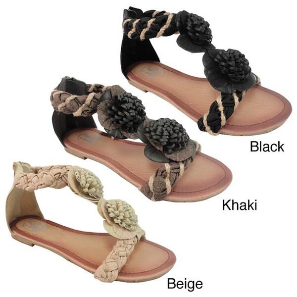 Carrini Women's Braided Flower Topped Sandals