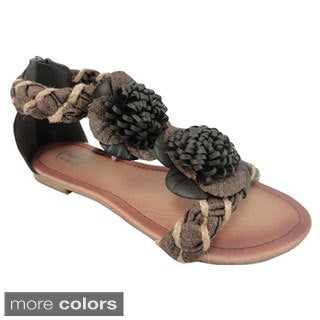 Carrini Women's Braided Flower Topped Sandals