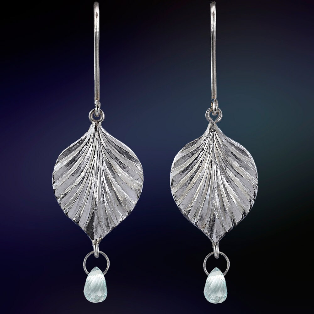 Ashanti Leaf Sterling Silver & Aquamarine Briolette Dangle Earrings (Sri Lanka)