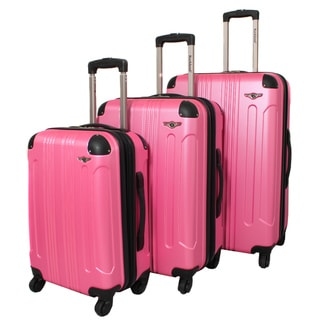 Rockland London Light Weight Expandable Pink 3-piece Hardside Spinner Upright Luggage Set