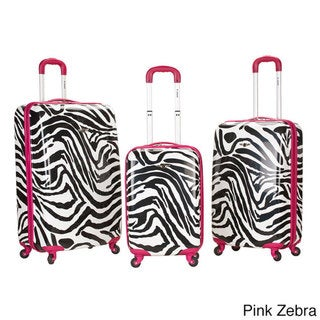 Rockland Designer Zebra 3-piece Hardside Upright Spinner Luggage Set