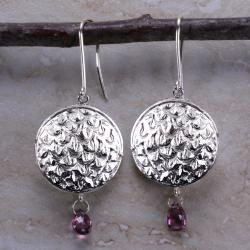 Ashanti Sterling-Silver & Genuine Rhodolite Garnet Briolette Dangle Earrings (Sri Lanka)