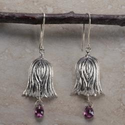 Ashanti Sterling Silver & Rhodolite Garnet Briolette Dangle Earrings (Sri Lanka)