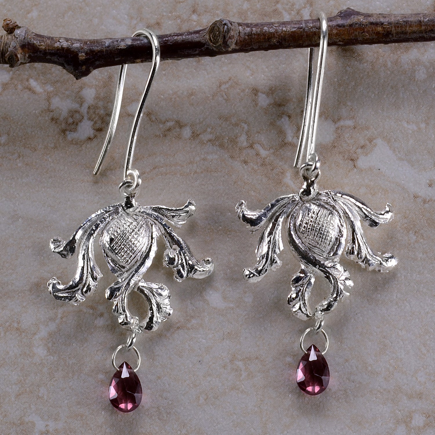 Ashanti 'Katira Mala' Sterling Silver & Rhodolite Garnet Briolette Dangle Earrings (Sri Lanka)