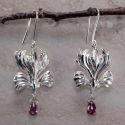 Ashanti Sterling-Silver & Rhodolite Garnet Briolette Dangle Earrings with Hook Clasps (Sri Lanka)