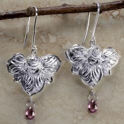 Ashanti 925 Sterling-Silver & Rhodolite Garnet Briolette Dangle Earrings (Sri Lanka)