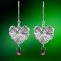 Ashanti Sterling-Silver & Pear-Shaped Rhodolite Garnet Briolette Dangle Earrings (Sri Lanka)