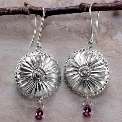 Ashanti Sterling-Silver & Rhodolite Garnet Briolette Chandelier Style Dangle Earrings (Sri Lanka)