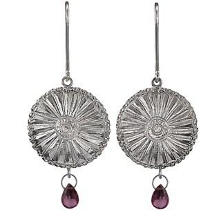 Ashanti Sterling-Silver & Rhodolite Garnet Briolette Chandelier Style Dangle Earrings (Sri Lanka)