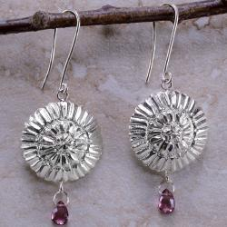 Ashanti Sterling-Silver & Rhodolite Garnet Briolette Dangle Earrings with Flower Motif (Sri Lanka)