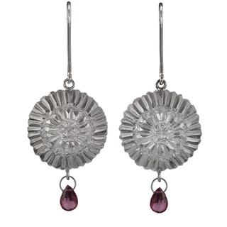 Ashanti Sterling-Silver & Rhodolite Garnet Briolette Dangle Earrings with Flower Motif (Sri Lanka)