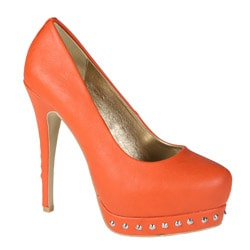 Refresh by Beston Women's 'Celin-2' Orange Studded Pumps