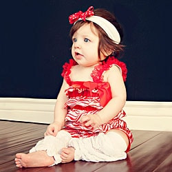 Red and White Romper Headband Bow 3-piece Set
