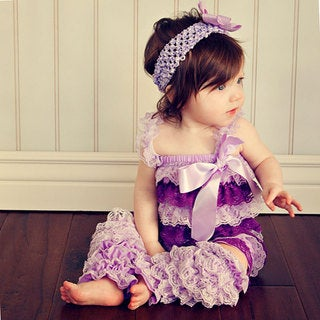 Lavender/Purple Romper Headband Bow 3-piece Set