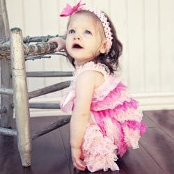 Light Pink/Baby Pink Romper Headband and Bow 3-piece Set