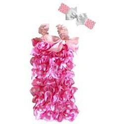 Pink and White Polka Dot Romper Headband Bow 3-piece Set
