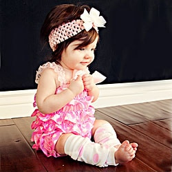 Pink and White Polka Dot Romper Headband Bow 3-piece Set