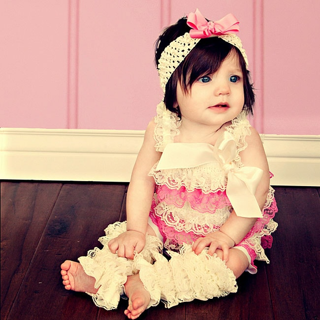 Cream and Baby Pink Romper Headband Bow 3-piece Set