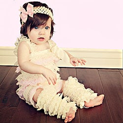 Cream and Light Pink Romper Headband Bow 3-piece Set