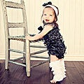 Black Sparkly Romper Headband Bow 3-piece Set