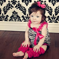 Girls' Zebra Print 3-piece Romper Set