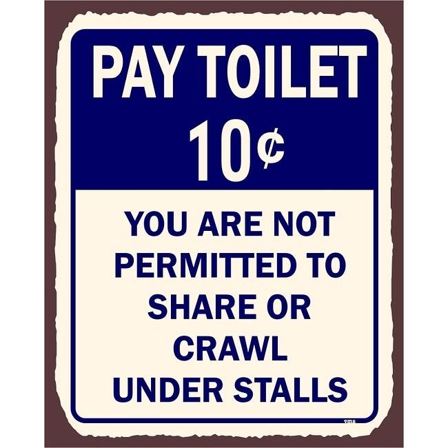 Pics Photos Bathroom Toilet 5 Cents Metal Art Retro Tin Sign