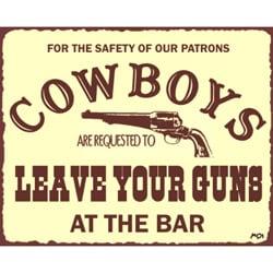 Vintage Metal Art 'Cowboys Leave Guns' Western Retro Tin Sign