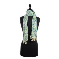 LA77 Women's Blue Floral/ Cream Lace Scarf