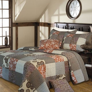 Stella Multicolored Patchwork-pattern Quilted Cotton 3-piece Bedspread Set